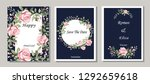 set of cards with flowers ... | Shutterstock .eps vector #1292659618