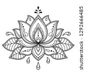 mehndi lotus flower pattern for ... | Shutterstock .eps vector #1292666485