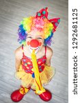 funny kid clown. happy child... | Shutterstock . vector #1292681125