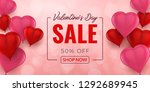 valentines day sale background... | Shutterstock .eps vector #1292689945