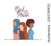 women with label girl power... | Shutterstock .eps vector #1292700922