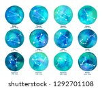 zodiac icons on watercolor... | Shutterstock .eps vector #1292701108