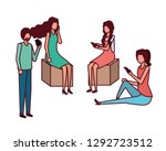 group of people with smartphone ... | Shutterstock .eps vector #1292723512