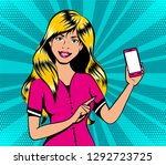 blond girl with smart phone in...   Shutterstock .eps vector #1292723725