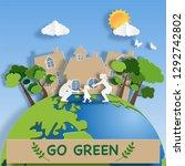 paper art style of family enjoy ... | Shutterstock .eps vector #1292742802