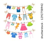 set of baby clothes for... | Shutterstock .eps vector #1292758942