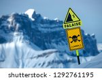 warning sign on the precipice... | Shutterstock . vector #1292761195