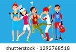 athlete set vector. man  woman. ... | Shutterstock .eps vector #1292768518