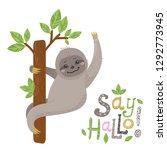 vector cute cartoon sloth... | Shutterstock .eps vector #1292773945