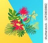 tropical flower composition ... | Shutterstock . vector #1292803882