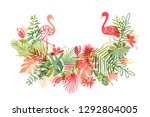 lets flamingle  hand drawn... | Shutterstock . vector #1292804005