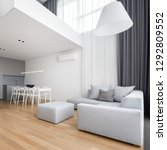 Small photo of Modern furnished apartment with corner sofa, big lamp and mezzanine