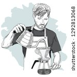 barista making pour over... | Shutterstock .eps vector #1292813068