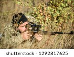 bearded man hunter. military... | Shutterstock . vector #1292817625