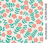 cute daisy flower pattern.... | Shutterstock .eps vector #1292819668