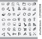 collection of hand drawn icons... | Shutterstock .eps vector #129283508