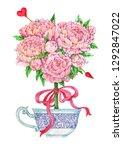 watercolor romantic... | Shutterstock . vector #1292847022