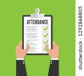 attendance concept. businessman ...   Shutterstock .eps vector #1292868805