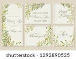 wedding invitation frame set ...   Shutterstock .eps vector #1292890525