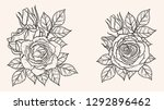 rose ornament vector by hand... | Shutterstock .eps vector #1292896462