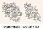 rose ornament vector by hand... | Shutterstock .eps vector #1292896465