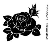 black silhouette of rose.... | Shutterstock .eps vector #129290612