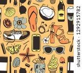 hand drawn summer seamless... | Shutterstock .eps vector #1292915782
