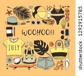 hand drawn summer pattern.... | Shutterstock .eps vector #1292915785