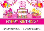 happy birthday card.... | Shutterstock .eps vector #1292918398