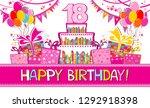 happy birthday card.... | Shutterstock .eps vector #1292918398
