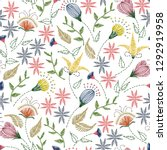 floral embroidery seamless...   Shutterstock .eps vector #1292919958