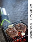 grilled meat steaks with garlic ... | Shutterstock . vector #1292931925