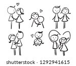 simple childish hand drawn line ... | Shutterstock .eps vector #1292941615