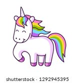 funny magical unicorn with... | Shutterstock .eps vector #1292945395