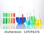 test tubes with colorful... | Shutterstock . vector #129296276