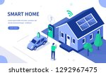 smart house with solar panel... | Shutterstock .eps vector #1292967475