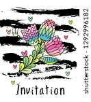 hand drawn hipster floral...   Shutterstock . vector #1292996182