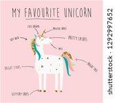 color text unicorn star magic...   Shutterstock .eps vector #1292997652