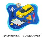 isometric car insurance concept.... | Shutterstock .eps vector #1293009985