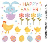 a cute colorful easter... | Shutterstock . vector #129303776