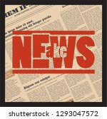 fake news stamp on newspaper... | Shutterstock .eps vector #1293047572