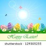 easter eggs in the grass... | Shutterstock .eps vector #129305255