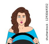surprised girl behind the wheel.... | Shutterstock .eps vector #1293069352