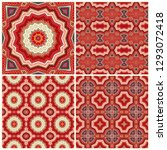 set of red vector  mosaic... | Shutterstock .eps vector #1293072418