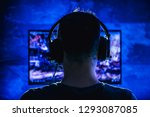 men wearing headphones playing... | Shutterstock . vector #1293087085