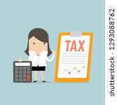 businesswoman standing with tax ... | Shutterstock .eps vector #1293088762