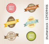 retro easter sale banners and... | Shutterstock .eps vector #129309446