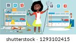 little girl with a mop and... | Shutterstock .eps vector #1293102415