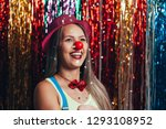a female clown with colorful... | Shutterstock . vector #1293108952