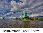 zaandam  holland  an old mill... | Shutterstock . vector #1293114895